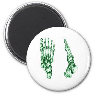 Huesos de los pies - verdes claros imán redondo 5 cm