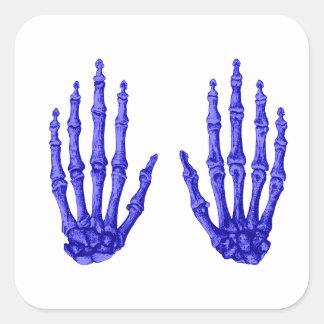 Huesos de mano pegatina cuadrada