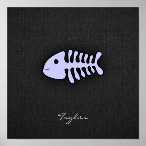 Huesos de pescados azules de la lavanda impresiones