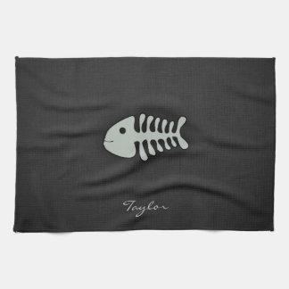 Huesos de pescados del gris de ceniza toalla