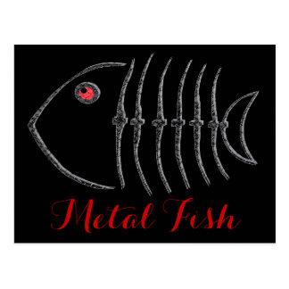 Huesos de pescados del metal postales