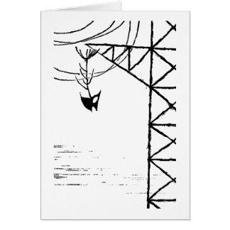 Huesos de pescados en torre de la línea eléctrica tarjeta de felicitación