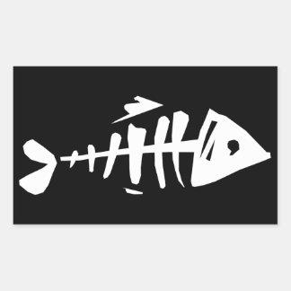Huesos de pescados pegatina rectangular