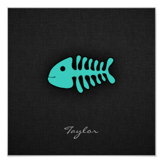 Huesos de pescados verdes de la turquesa póster