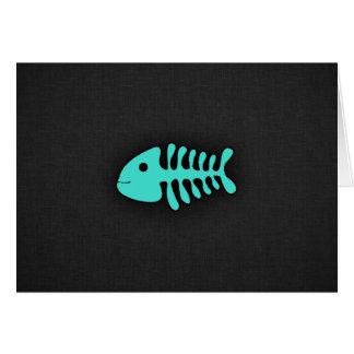 Huesos de pescados verdes de la turquesa tarjeta pequeña