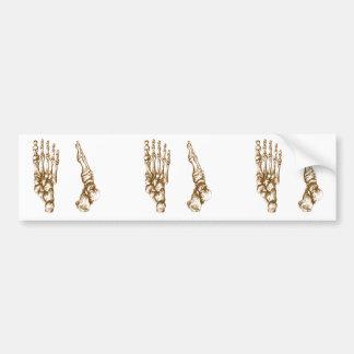 Huesos de pie etiqueta de parachoque