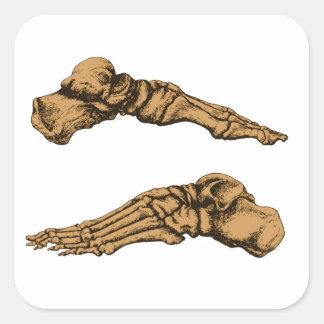 Huesos de pie pegatina cuadrada
