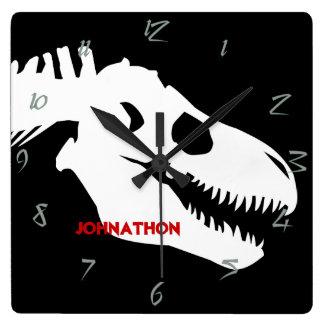 Huesos de T-rex personalizados Reloj Cuadrado
