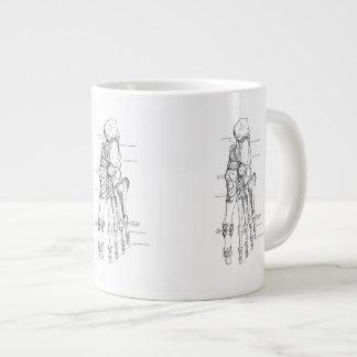 Huesos del arte de la anatomía del vintage del pie taza de café grande