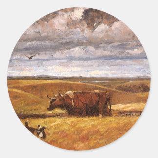 Huesos del búfalo arados debajo por Harvey Thomas Pegatina Redonda