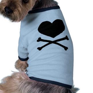 Huesos del corazón y de la cruz camisetas de perrito
