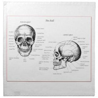 Huesos del cráneo humano servilleta de papel