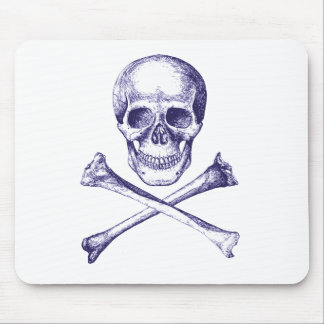 Huesos del cráneo y de la cruz - azul tapetes de ratones