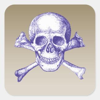 Huesos del cráneo y de la cruz en azul pegatina cuadrada