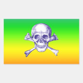 Huesos del cráneo y de la cruz en azul pegatina rectangular