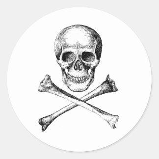 Huesos del cráneo y de la cruz - gris pegatina redonda