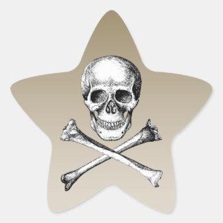 Huesos del cráneo y de la cruz grises pegatina en forma de estrella