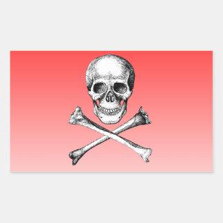 Huesos del cráneo y de la cruz grises pegatina rectangular