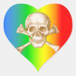 Huesos del cráneo y de la cruz pegatinas de corazon personalizadas