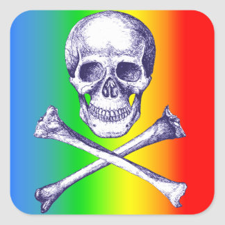 Huesos del cráneo y de la cruz pegatina cuadrada