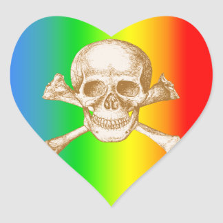 Huesos del cráneo y de la cruz pegatina en forma de corazón
