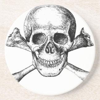 Huesos del cráneo y de la cruz posavasos de arenisca