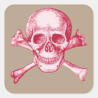 Huesos del cráneo y de la cruz rojos pegatina cuadrada
