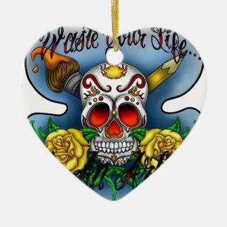 Huesos del cráneo y del arte del azúcar de WYL Adorno Navideño De Cerámica En Forma De Corazón