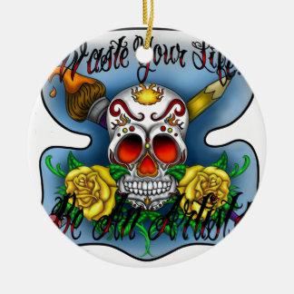 Huesos del cráneo y del arte del azúcar de WYL Adorno Navideño Redondo De Cerámica