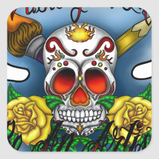 Huesos del cráneo y del arte del azúcar de WYL Pegatina Cuadrada