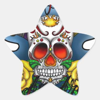 Huesos del cráneo y del arte del azúcar de WYL Pegatina En Forma De Estrella