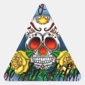 Huesos del cráneo y del arte del azúcar de WYL Pegatina Triangular