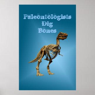 Huesos del empuje de los paleontólogos impresiones