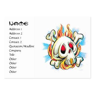 Huesos frescos del fuego de la llama del cráneo de tarjetas de visita grandes