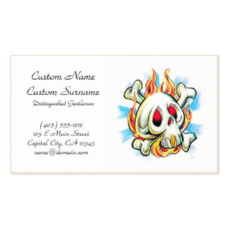 Huesos frescos del fuego de la llama del cráneo de tarjetas de visita