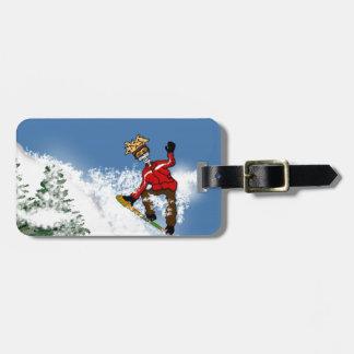 Huésped esquelético de la nieve etiqueta de maleta