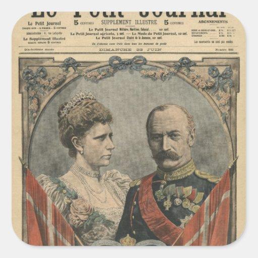 Huéspedes de Francia, rey Frederick VIII y reina Pegatina Cuadrada