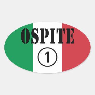 Huéspedes italianas Uno de Ospite Numero Calcomanías De Ovaladas