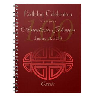 Huéspedes rojo oscuro de encargo del cumpleaños de spiral notebooks