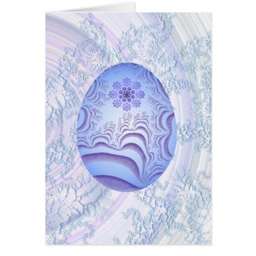 Huevo azul claro y púrpura pintado tarjeta de felicitación