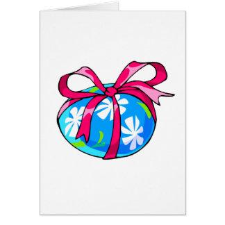 huevo azul ribbon.png rojo de la margarita tarjeta pequeña