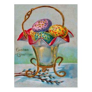Huevo coloreado cesta de Pascua del vintage Tarjetas Postales