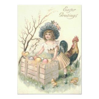 """Huevo coloreado gallo del polluelo de Pascua del Invitación 5"""" X 7"""""""