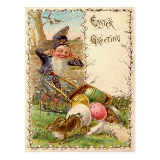 Huevo coloreado pintado gnomo del conejito de pasc postales