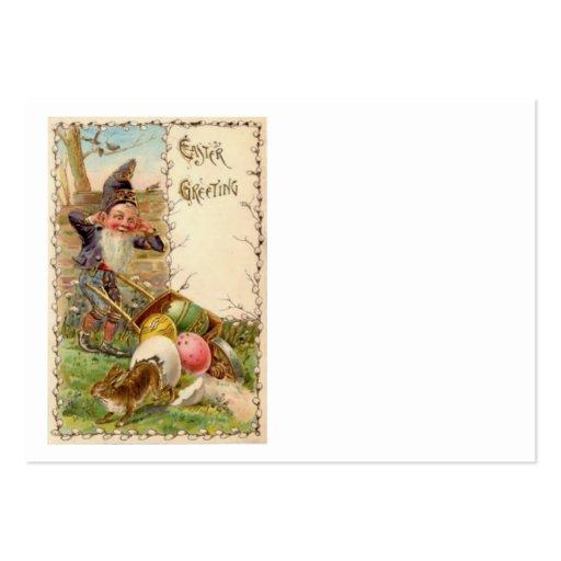 Huevo coloreado pintado gnomo del conejito de pasc tarjetas de visita