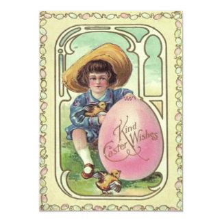 """Huevo coloreado polluelo de Pascua del muchacho Invitación 5"""" X 7"""""""