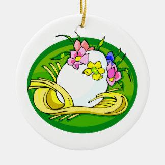 huevo con el verde oval.png de la tiara de la flor adorno redondo de cerámica