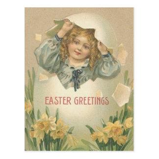 Huevo de Jonquil Pascua del narciso del chica del  Tarjeta Postal
