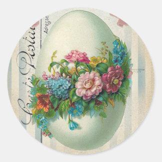 Huevo de la flor de Pascua del Victorian Pegatina Redonda