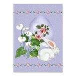 Huevo de la lavanda y conejito blanco invitación 12,7 x 17,8 cm